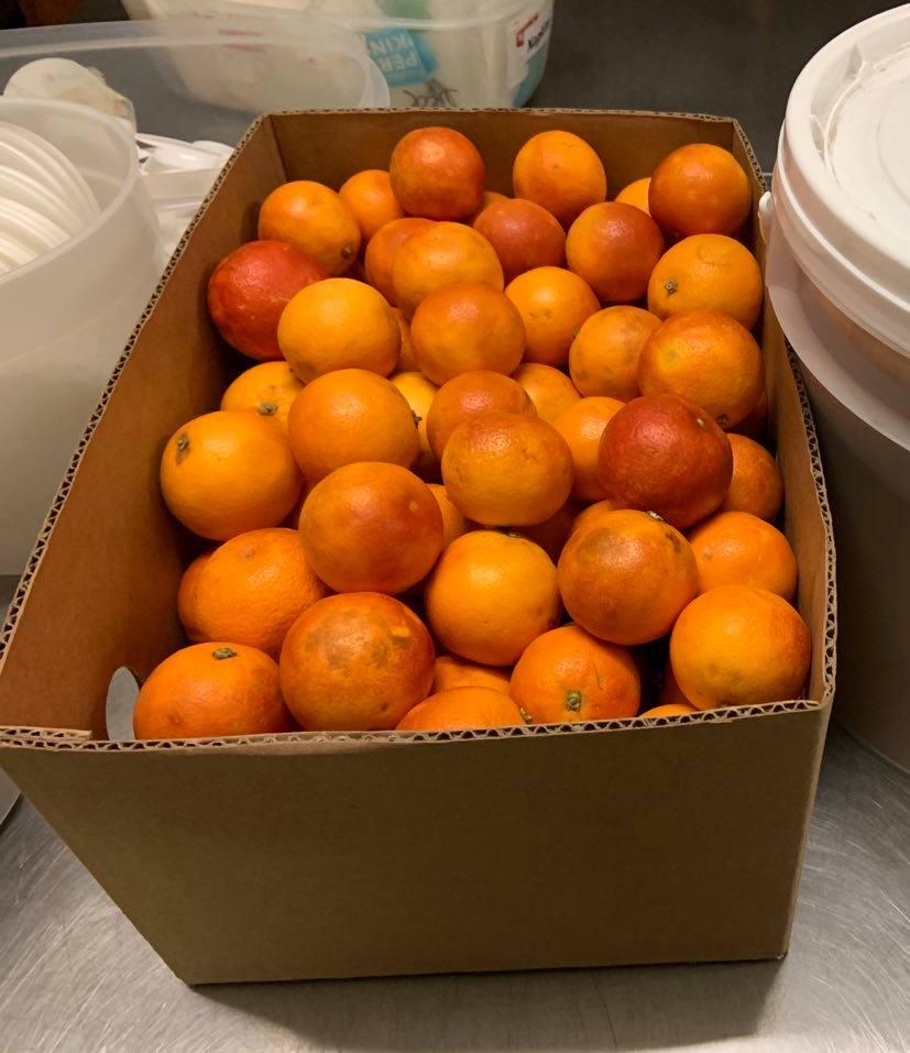 box of oranges